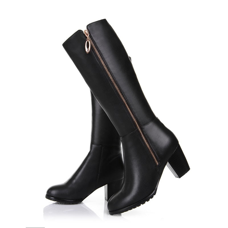 Women Winter Genuine Leather Thick High Heel Side Zipper Round Toe Fashion Mid Half Boots
