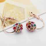 Fashion Austrian Crystal Ball Gold Silver Earrings For Woman Party Wedding Jewelry - Style Lavish