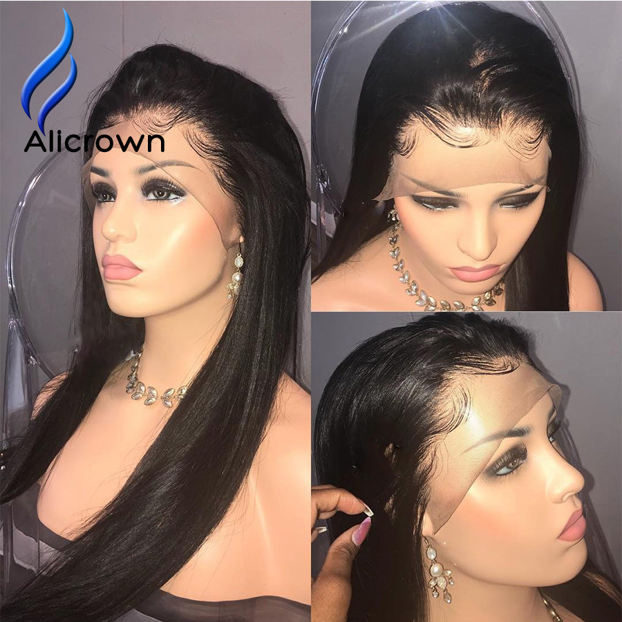 "Alicrown Straight Lace Front Human Hair Wigs Free Part Brazilian Remy Hair Wig 8""-24""Pre Plucked Natural Hairline - Style Lavish"