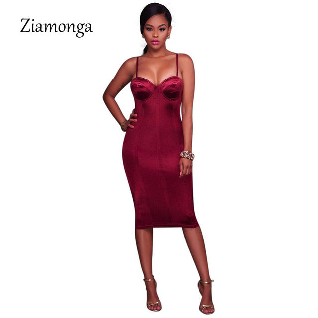 Women Bodycon Chest Padded Midi Dress Party Dresses Sleeveless Skinny Dresses Black Blue Pink Red Women Dress