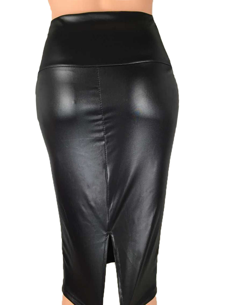 Women Summer High-Waist Faux Leather Pencil Slits Waist Skirt Black Leather Skirt