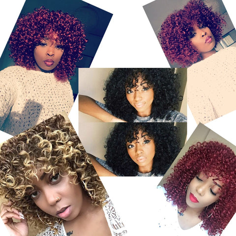 Red Black Afro Kinky Curly Wigs for  Women Black and  Blonde  Mixed Brown Synthetic Wigs African Hairstyle