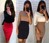 Spring Dress Women Casual Patchwork Sheath Sexy Dresses