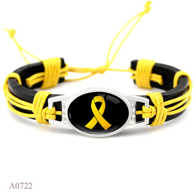 Autism Awareness Strong Cancer Butterfly Yellow Orange Pink Ribbon Leather Charm Bracelets Unisex Women Men Jewelry - Style Lavish