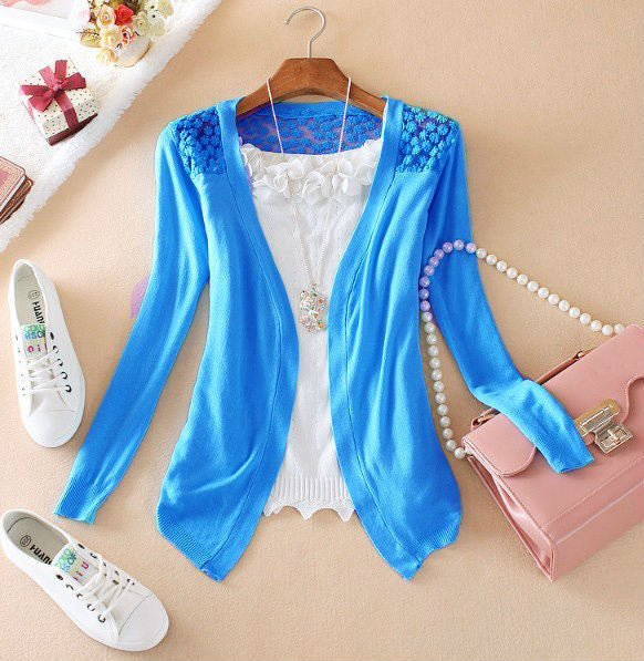 Women Thin Lace Hollow Out jacket Knitted Cardigan Sweater Tops Irregular Hem Long Sleeve  Outwear Coat