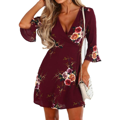Women  Peony Printed Dress Women  Mini Flare Half Sleeve Bodycon Summer Boho  Wine Red Short Dresses Beach  Dresses