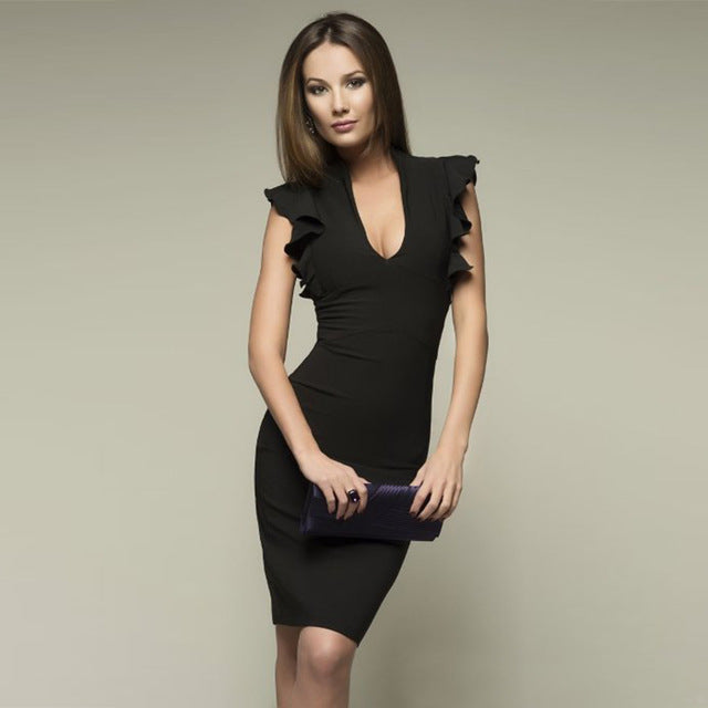 Spring Summer Popular Sleeveless Ruffle Elegant Bodycon Women Deep V-Neck Dress