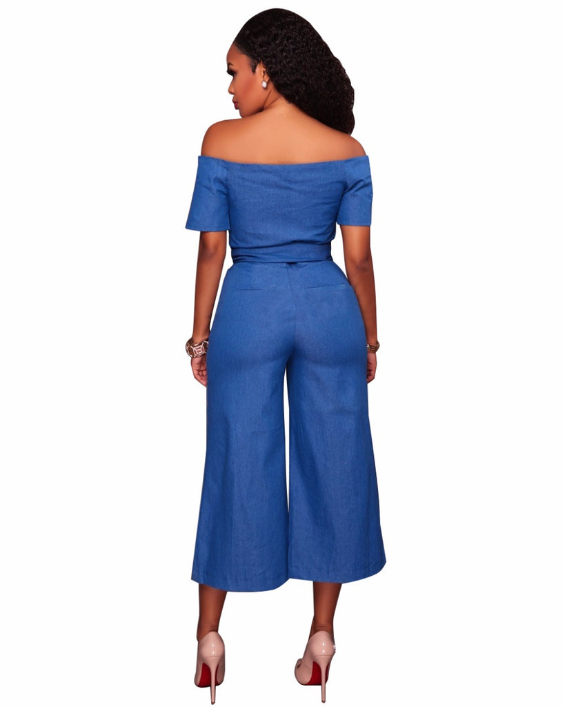 Women Bow denim jumpsuit off shoulder Zipper bodysuit Casual culottes Sashes