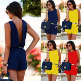 Fashion Women Casual Summer O Neck Backless Sleeveless  Playsuit Party Jumpsuit - Style Lavish