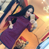 Women Vintage Cross Plaid Print O Neck Long Sleeve Dress Casual Straight Dresses