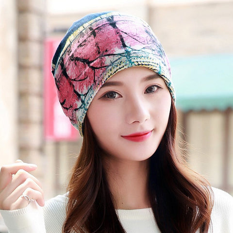 Women Hat Polyester Adult Casual Floral Hats Spring Autumn Two Used Female Cap Scarf 3 Colors Fashion Beanies