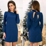 Women Back Bow Tie Vintage Straight Dress Long Sleeve O-neck Solid  Mini Dress Summer Fashion Casual Dresses