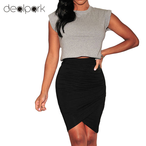 d56e7b008f Summer Elegant Office Wear OL Skirts Women Pencil Short Asymmetric Mini Skirt  female high waist skirt