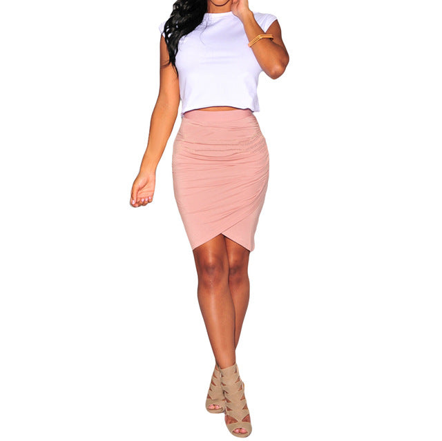 Summer Elegant Office Wear OL Skirts Women Pencil Short Asymmetric Mini Skirt female high waist skirt
