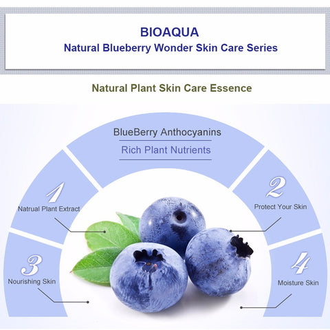 BIOAQUA Blueberry Wonder Essence For Face Skin Care Effect Plant Extract Anti Wrinkle Facial Serum Sodium Hyaluronate Serum - Style Lavish