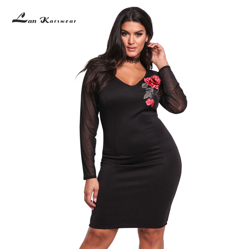 Autumn Bandage Dress V Neck Long Sleeve Mesh Embroidery Plus Size Body