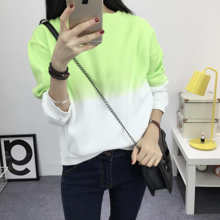 Fashion Long Sleeve Sweatshirts Slim Autumn Moletom Round Neck Gradual Change Printing Loose Women Sweatshirt - Style Lavish