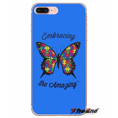 Love Autism Awareness butterfly Soft Case For iPhone X 4 4S 5 5S 5C SE 6 6S 7 8 Plus Samsung Galaxy J1 J3 J5 J7 A3 A5 2016 2017