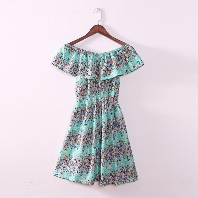 Summer Dress Women Floral Printing Boat Neck Strapless Chiffon Off the Shoulder Beach Dress