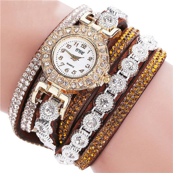 Women Bracelets Multilayer Rhinestone Leather wrist watch Quartz Wristwatches Bangles Jewelry