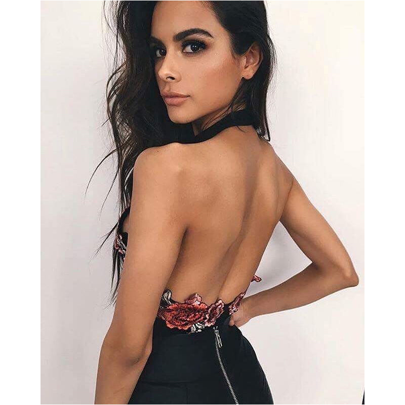 Women V Neck Embroidery Bodysuits Black Floral Bodycon Bandage Backless Bodysuit Jumpsuit One Piece Summer Tops