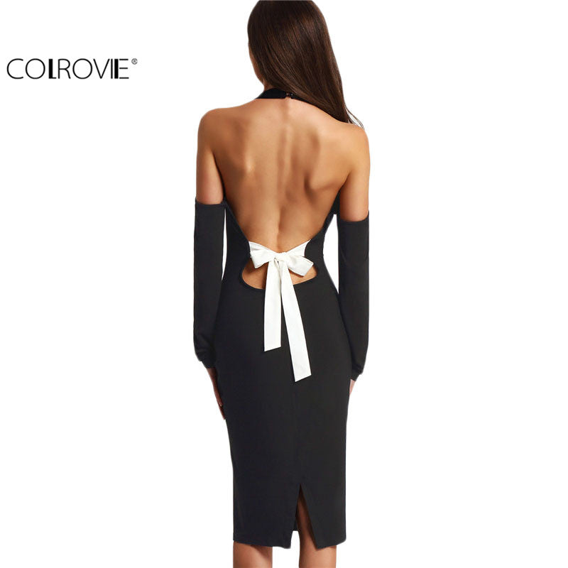 Women Backless Bodycon Pencil Dress Hollow Out Women Black Open Shoulder Long Sleeve Bow Halter Dress