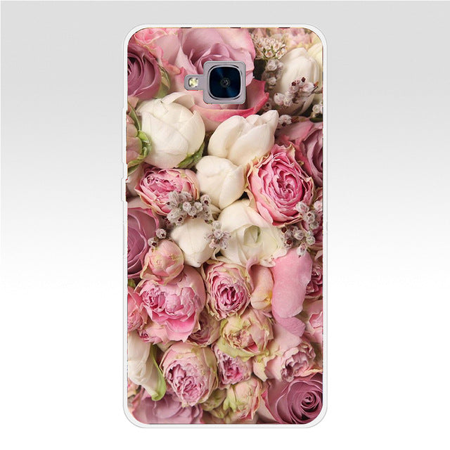 68GH Colorful Flower Rose Peony Transparent Cover for Huawei Honor 5C no Without The Fingerprint Hole Version For RU - Style Lavish