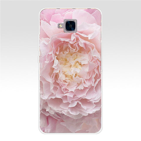 68GH Colorful Flower Rose Peony Transparent Cover for Huawei Honor 5C no Without The Fingerprint Hole Version For RU