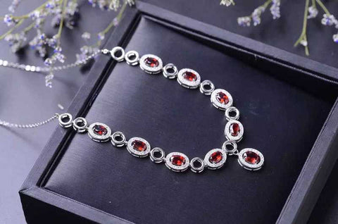 Fidelity natural garnet pendant Necklaces s925 sterling silver natural red gemstone Necklaces elegant fine jewelry for women