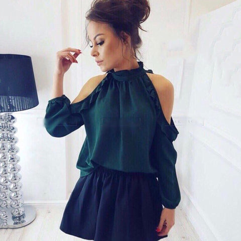 Fashion Women Casual Blouse Shirt  Spring Summer Open Shoulder Ruffle Long Sleeve  Tops Blouses