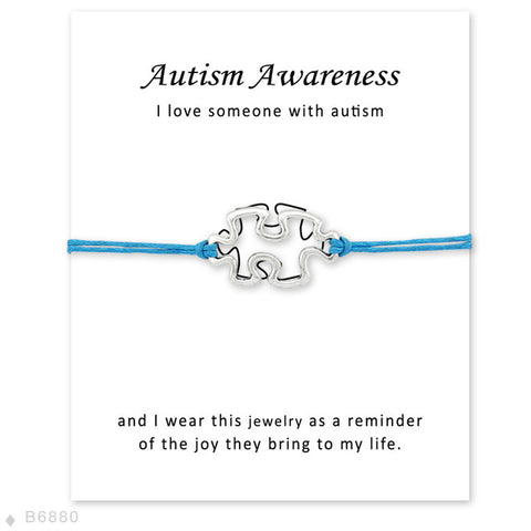 Autism Awareness Puzzle Hope Faith Love Charm Card Bracelets Gray Brown Blue Wax Cords Women Men Girl Jewelry Christmas Gift - Style Lavish
