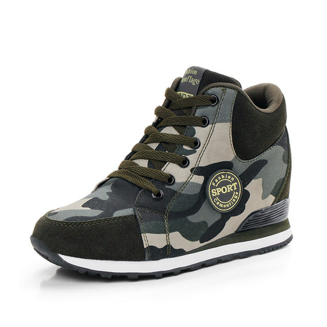 Casual Shoes Autumn Winter New Brand Fashion High-Top Camouflage Women Shoes Comfort Heighten Shoes - Style Lavish