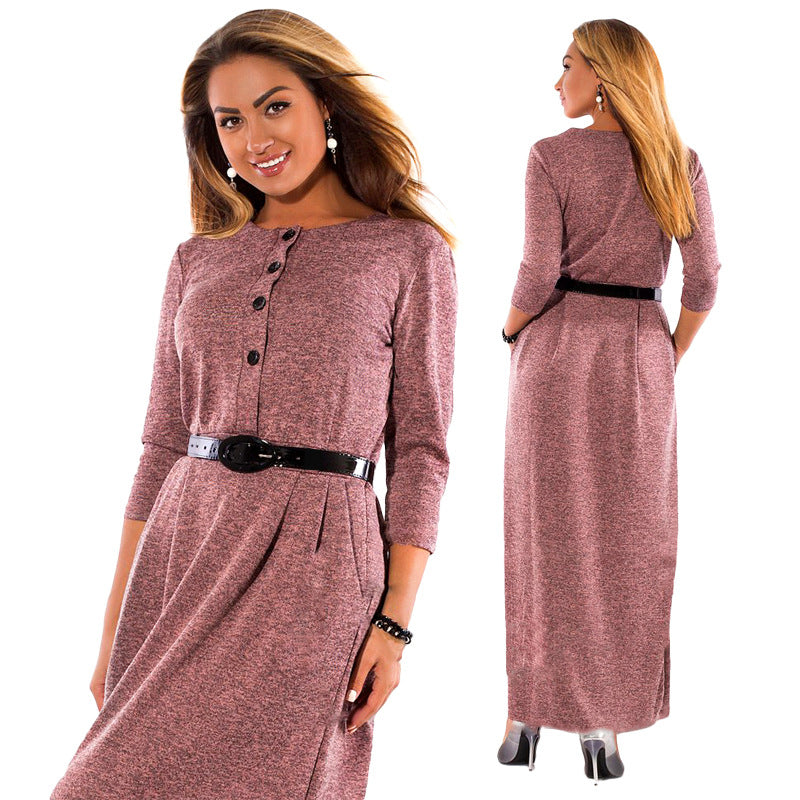 Autumn Winter Dress Big Size Elegant Long Sleeve Maxi Dress Women Office Work Dresses Plus Size Women Clothing - Style Lavish