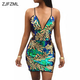 Women Sexy Gold Green Sequins Dress Women V Neck Sleeveless Party Dress Luxury Backless Sequined Dress Sundress
