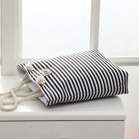 Cotton Canvas Summer Beach Shoulder Bags Women Tote Bags Large WomanHandbags Casual Striped-15 - Style Lavish