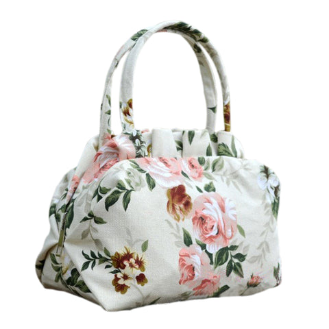 Women Vintage canvas Shoulin Flowers Shell bag