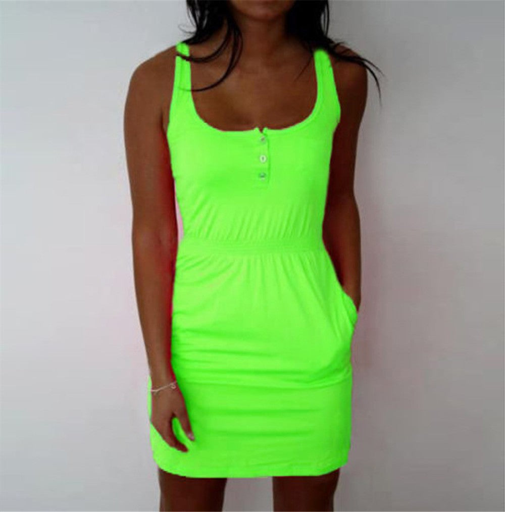 women Dress color Fluorescent Elastic Waist Lady Casual Sleeveless Summer Beach dresses