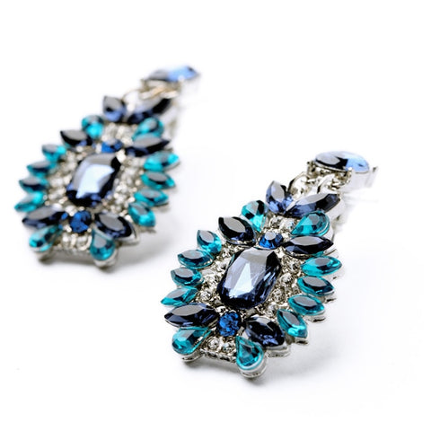 Statement Trendy Jewelry Elegant Shiny Resin Stone Blue Plant Stud Earrings
