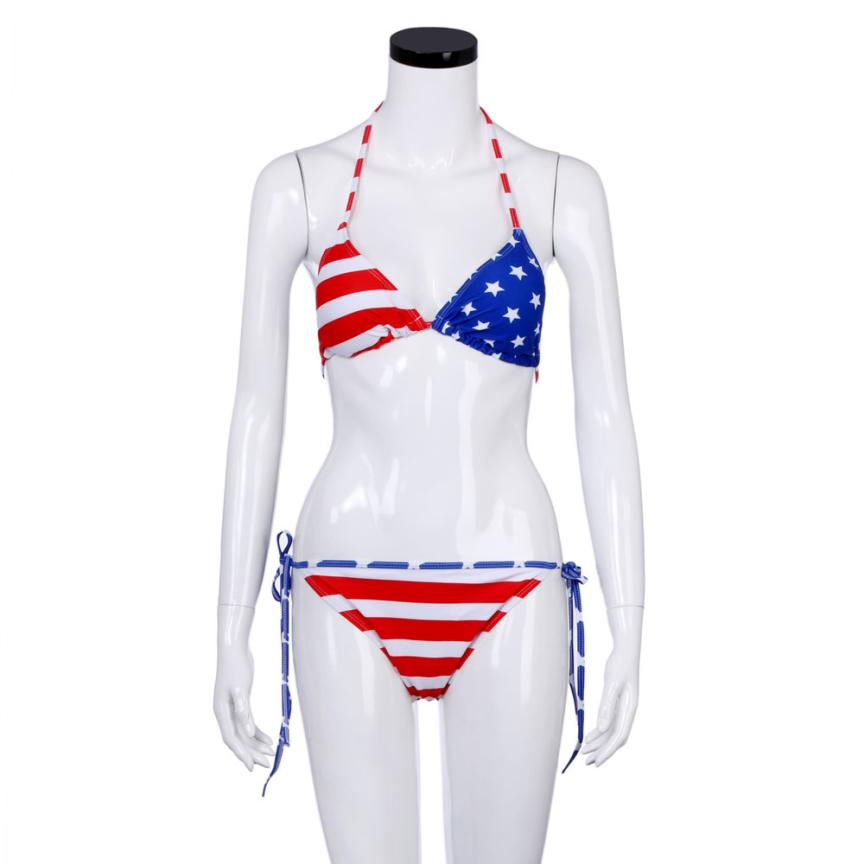 Women Low Waist Bikini Set Swimwear Push-Up Padded Bra USA Flag Print Swimsuit Beachwear Bathing Suit