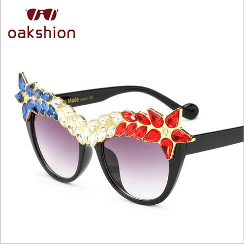 Fashion Luxury Cat Eye Diamond Sunglasses Women Crystal Rhinestone Sun Glasses Oversized Frame Bling Shades Oculos de sol