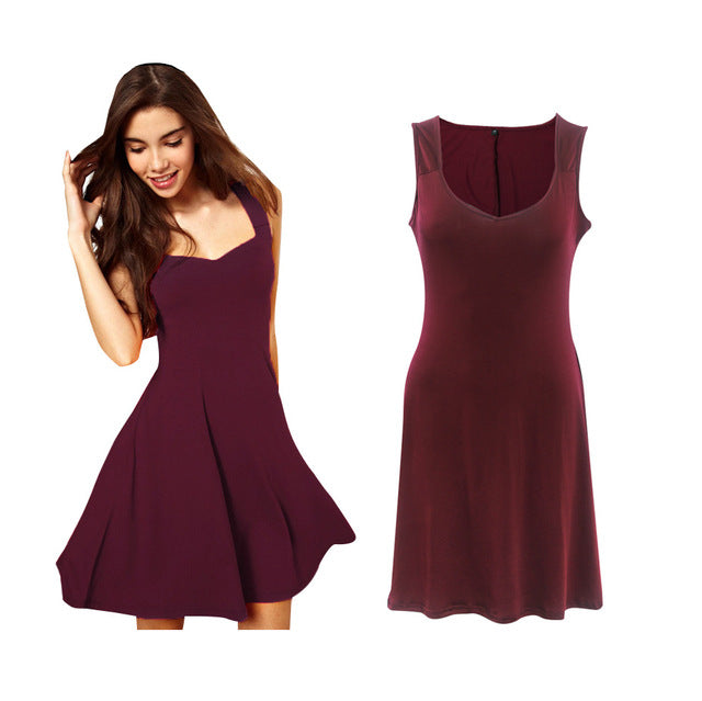 Summer Dresses Women Sleeveless Fit Flare Mini Party Dress Ladies Round Neck Sexy Solid Beach Bar Dresses