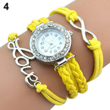 Silver Infinity Love Charm Bracelet Antique Bangle Watch Leather Crystal Watch
