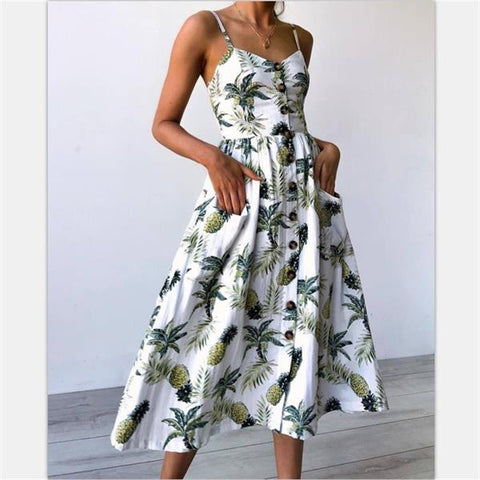 1246a0d20f Women Fashion Beach Summer Dress Casual Long Party Dress Print Bohemian  Elegant Sundress