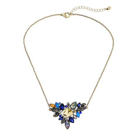 Exquisite Rhinestone Pendant Necklace  Fashion Thin Chain Collar Necklace Jewelry
