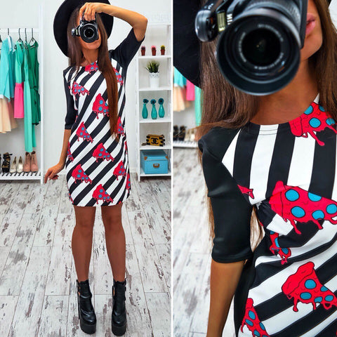 Women Vintage Multi color Printed Dress Half Sleeve Slim Party Dresses Ladies Mini Spring Dress