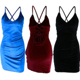 Trendy Women Dress Backless Bodycon Velvet V-neck Sleeveless Solid Evening Pencil Mini Dresses One Pieces
