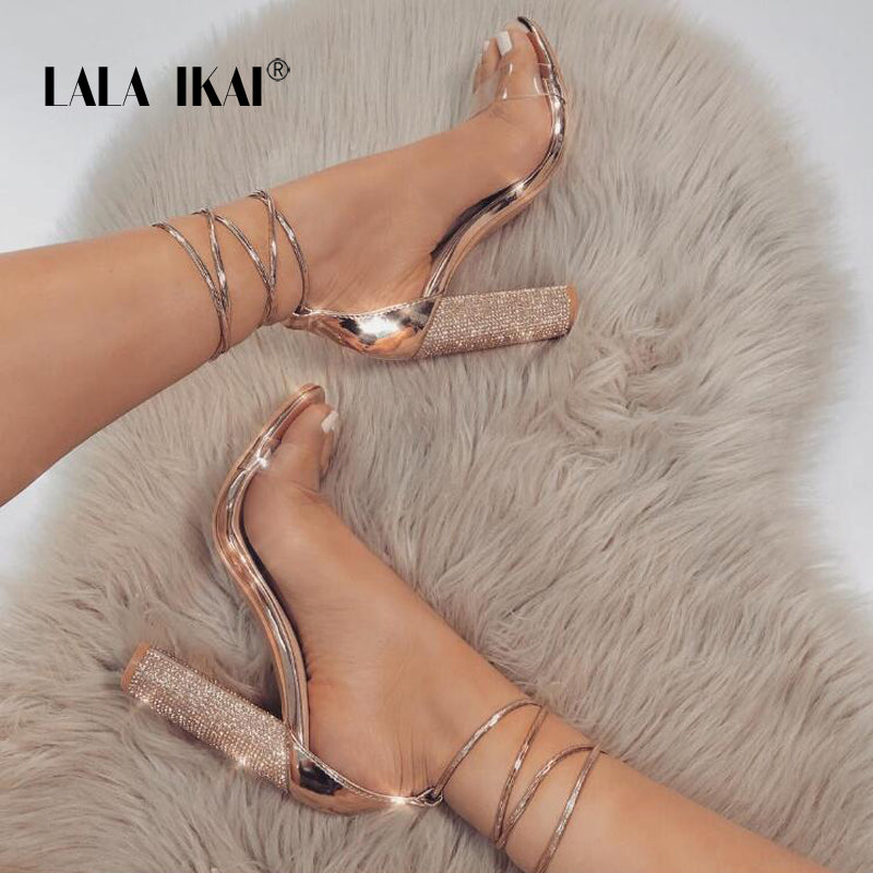 Ankle Pumps Sandals Bandage Heeled Super H Strap High Rhinestone Women WY2IDHE9
