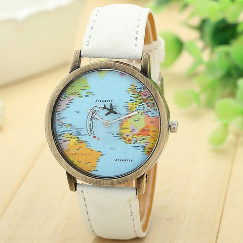 Mini World Fashion Quartz Watch Men Unisex Map Airplane Travel Around The World Women Leather Dress Wrist Watches