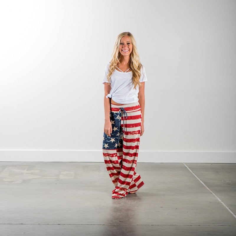Fashion Casual Women Pants USA Flag Printed Loose Striped Trousers Wide Pant J