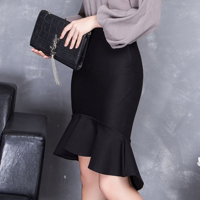 Spring Summer High Waist Slim Hip Skirt Bust Ruffle Slim Fish Tail Skirt